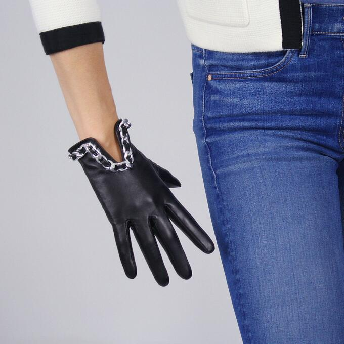 Women'a Natural Sheepskin Leather Driving Glove Lady's Punk Style Sliver Chain Genuine Leather Black Motorcycle Glove R627