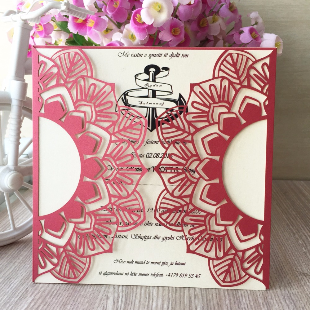12pcs Red Pearl Paper Crafts Picrced Flower Design Personalized ...