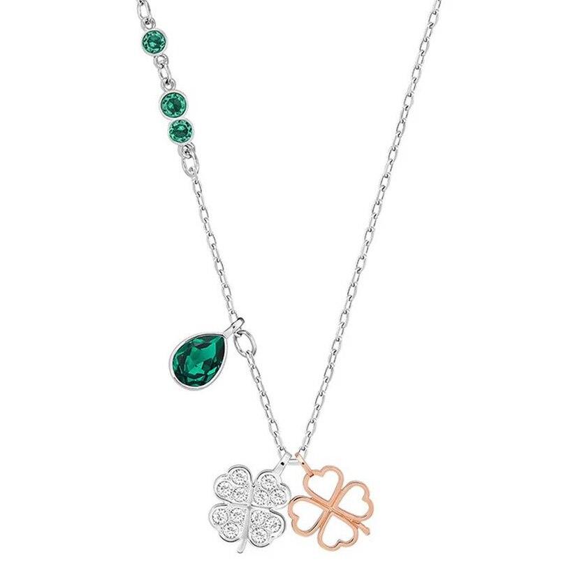 2018 Neue Glück Vier-kleeblatt Smaragd Frische Und Elegante Temperament Damen Schlüsselbein Kette Mode Anhänger Halskette