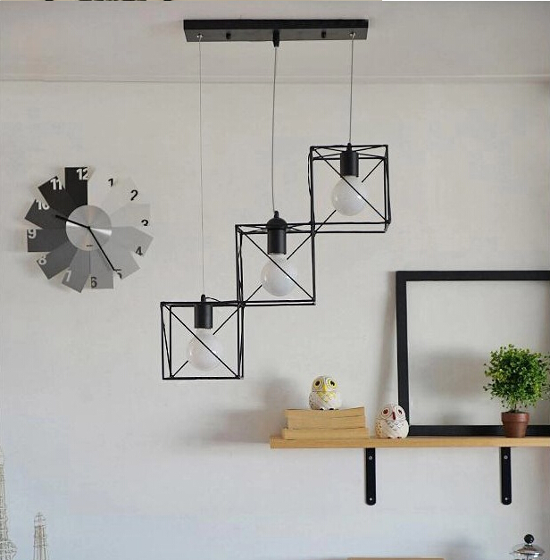 American country simple modern square Iron Chandelier creative decorative light coffee bar dining room lamp ZL280 TA10219 american creative personality features simple and warm bedroom dining room chandelier retro country iron chandelier