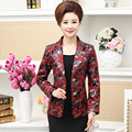2016 New Spring Autumn Middle Aged Women Blazer Long Sleeve Single Breasted Fashion Casual Printed Suit Basic Jacket E111