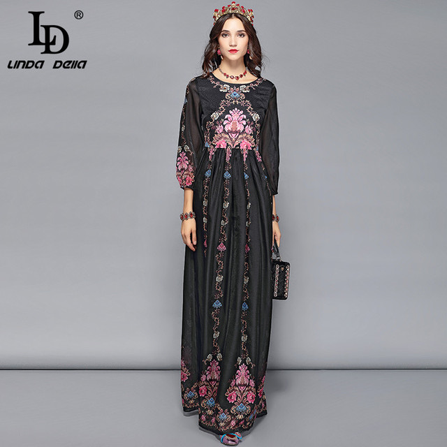b09ea3290897dd LD LINDA DELLA Spring Elegant Maxi Dresses Women's Long Sleeve Casual  Floral Print Holiday Vacation Party