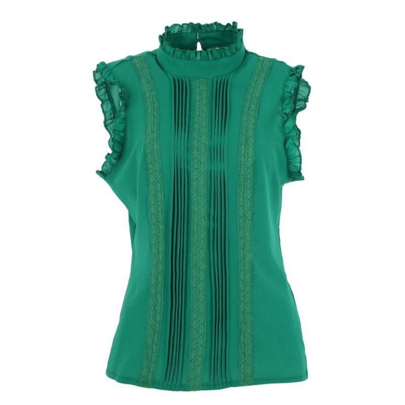 Women Ruffle Stand Collar Slim T-Shirt Tops Lady Casual Lace Sleeveless Shirt Ladies Tee Green/White chiffon 3