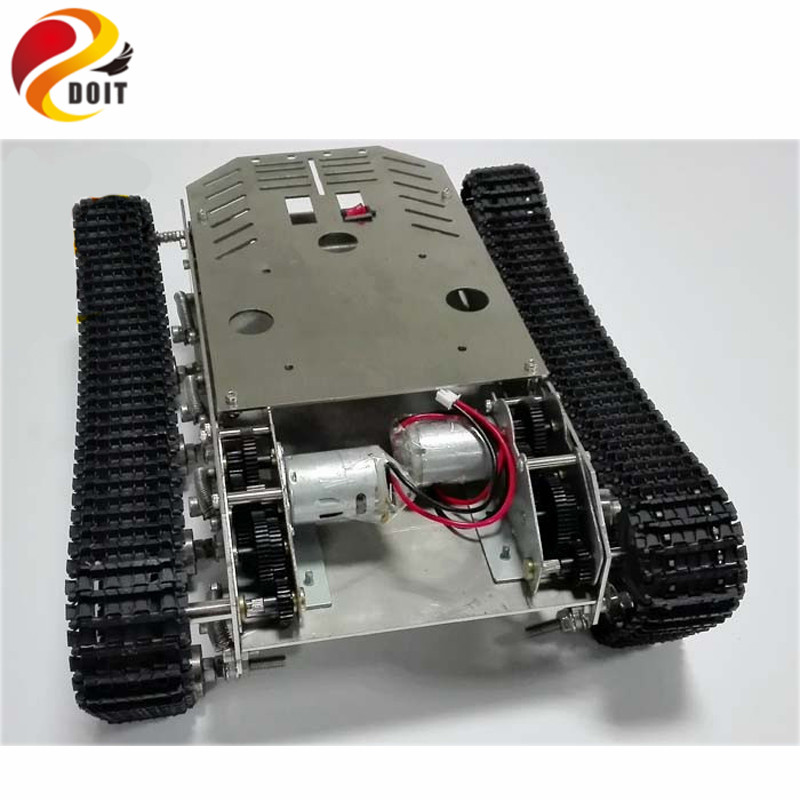 Official DOIT Damping Tank chassis Smart Car Tracked Tank Chassis DIY Toy official doit caeser ts600 4wd damping tracked metal tank car chassis smart robot toy robotic competition