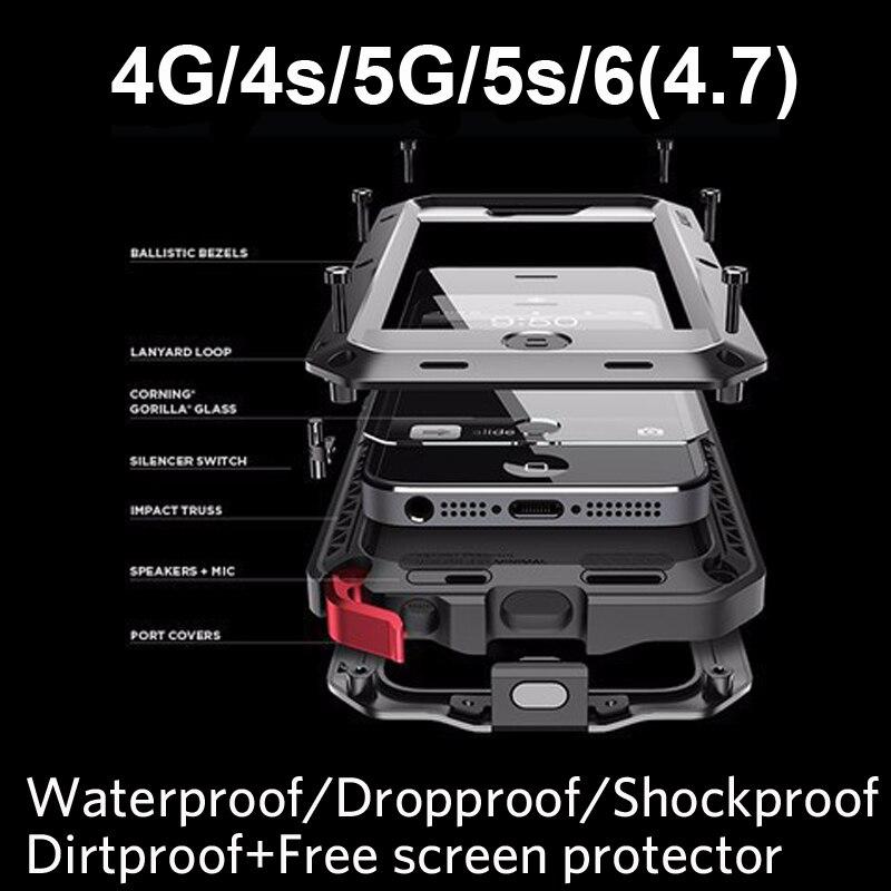 """imágenes para De Metal A Prueba de Golpes Extrema Militar Heavy Duty Tres a prueba de Caso de la Cubierta de La Piel para el iphone 6 6 S 4.7 """"5S 5 4 4S de Todo el Cuerpo A Prueba de agua"""