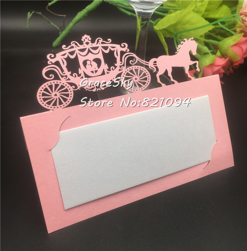 50pcs Laser cut Wedding Carriage Wedding invitations Table Name Place Cards Table Decoration Mariage favors Gifts Party Supplies image
