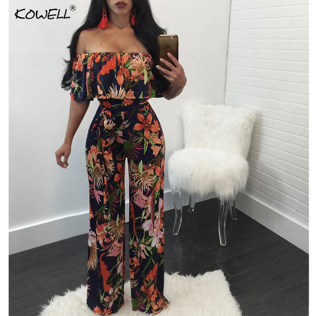 a413dad2e157e Kowell Bohemian palm print Lace up jumpsuits rompers Off shoulder plus size  women jumpsuit Summer beach sexy