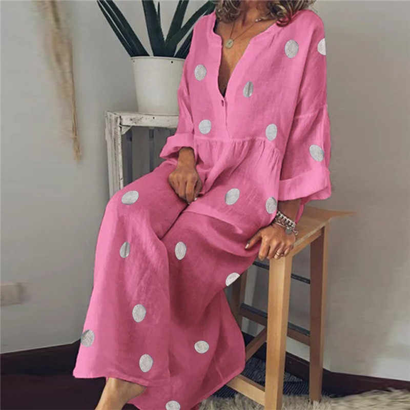 女性自由奔放に生きる休日ローブロングドレス V ネック長袖ドットプリントシャツスタイル夏カジュアルルースサンドレス S-5XL