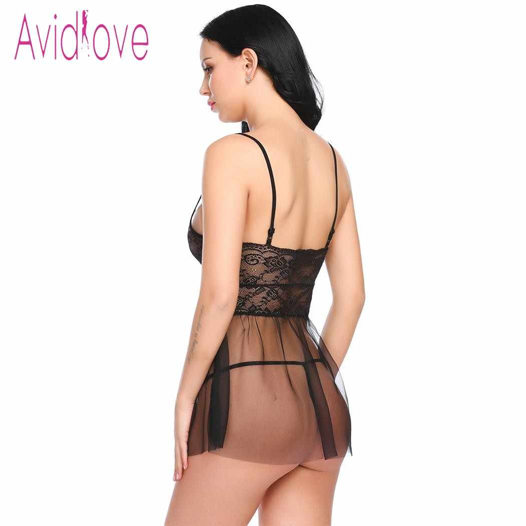 5457ec4fbe0 ... Avidlove 2018 New Lingerie Sexy Hot Erotic Babydoll Dress Chemise Women  Spaghetti Strap Lace Nightwear Sex ...
