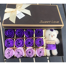 kawaii Artificial plush teddy bear toys with bouquet soap mold flower rose mould Valentine's Day weeding flowers decoration box