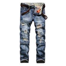 2017 Новая Мода Отверстие патч Джинсы высокого качества Мужчины плюс размер Длинные Брюки Досуг брюки джинсовые w194