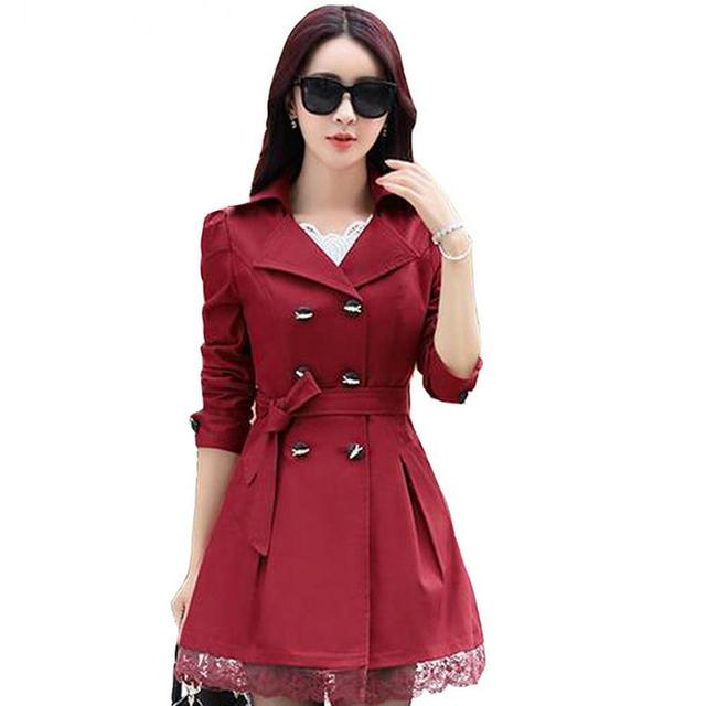 ¡ Caliente! otoño nueva llegada de las mujeres elegantes prendas de vestir exteriores larga del diseño de foso delgada femenina Las Mujeres de color caqui trench y cinturón tamaño M-XXXL G 36