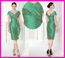 Unique Green Cap Sleeve Sheath Short Mother of the Bride Dresses Gowns Knee Length M1728