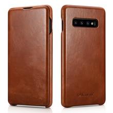 Icarer funda de lujo con tapa para Samsung Galaxy S10 Plus, funda magnética de cuero genuino para Galaxy S10