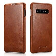 삼성 갤럭시 s10 플립 케이스에 대한 icarer 럭셔리 쉘 갤럭시 s10 휴대 전화 케이스에 대한 정품 가죽 마그네틱 커버