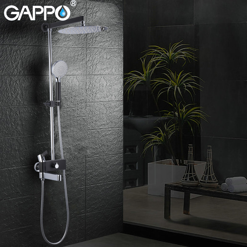 GAPPO sanitary ware Suite luxury bathroom showers chrome polished and black shower faucets wall mounted massage shower head