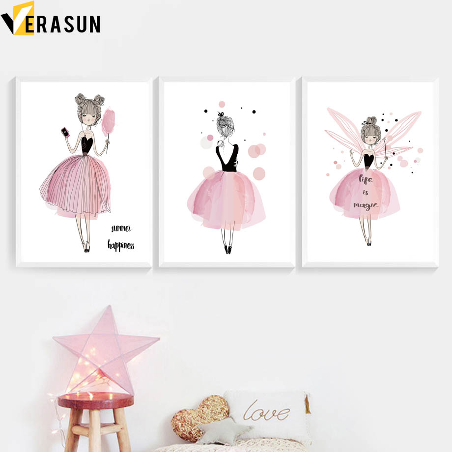 US $3 06 51% OFF|Watercolor Pink Little Girl Wall Art Canvas Painting  Nordic Posters And Prints Cartoon Wall Pictures For Baby Kids Room Decor-in