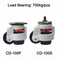 4 шт. cd 100f/S Регулировка уровня MC нейлон колеса и Алюминий Pad выравнивания МНЛЗ промышленных Колёсики нагрузка 750 кг/шт. jf1517