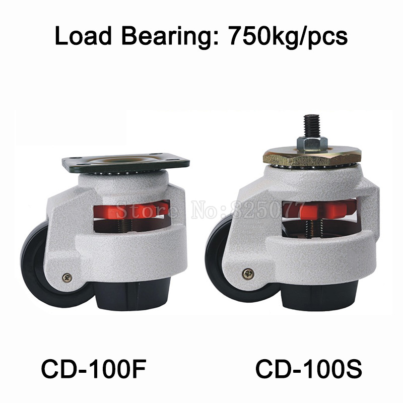 4PCS CD-100F/S Level Adjustment MC Nylon Wheel and Aluminum Pad Leveling Caster Industrial Casters Load Bearing 750kg/pcs JF1517 4pcs cd 80t load bearing 500kg pcs level adjustment nylon wheel and triangular plate leveling caster industrial casters jf1563