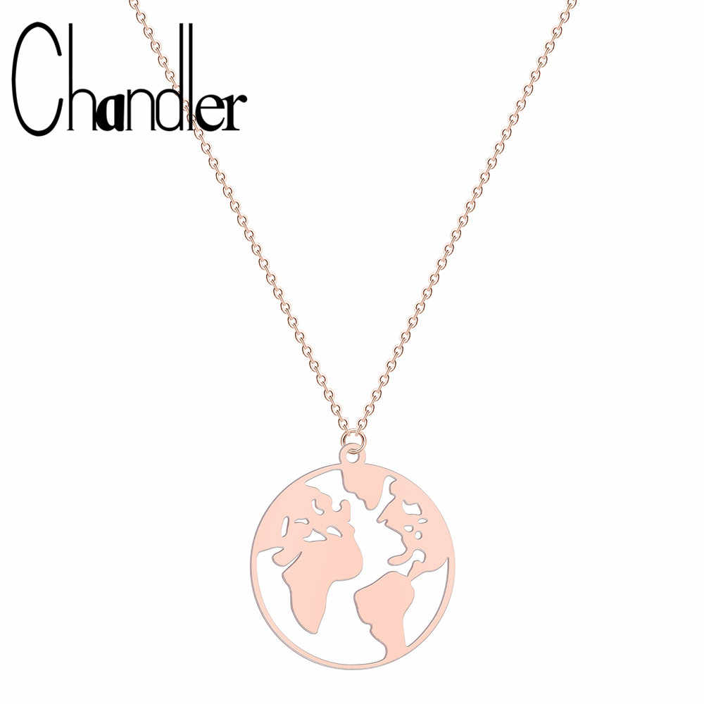 Chandler Stainless Steel Globe Map Necklace Travel Jewellery Gift Earth Necklaces Graduation Gift Lover Personalized Jewelry