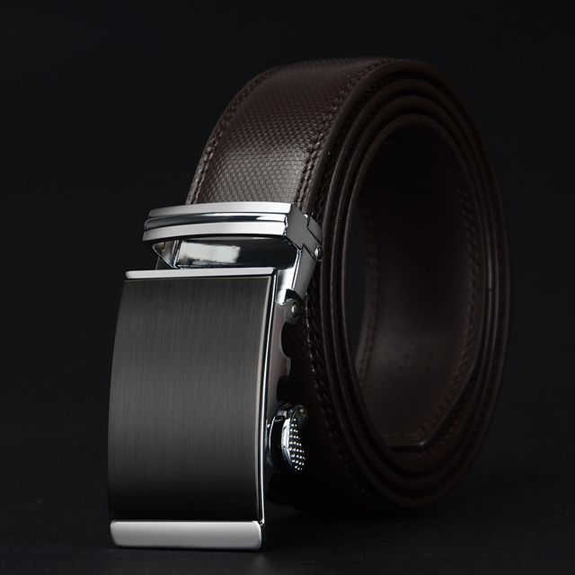 COWATHER Cow Leather Automatic Ratchet Buckle Belt