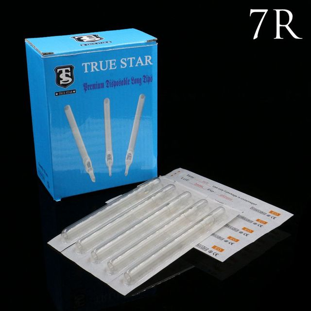 50PCS 7R Tattoo Tip True Star Clear Long Disposable Tips 108mm needles tip For Free Shipping
