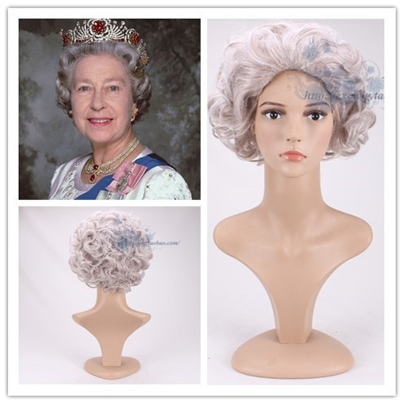 US $17 85 15% OFF Role Play Egland Elizabeth Queen Silver Grandma wavy wig  Holiday Old Lady costumes-in Holidays Costumes from Novelty & Special Use