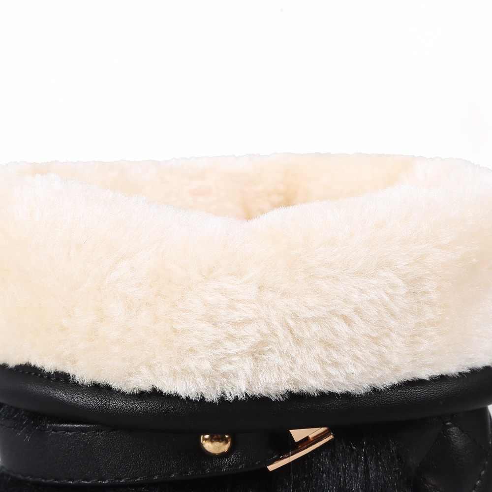 โปรโมชั่นขนาดใหญ่ 34-43 ผู้หญิงฤดูหนาวรองเท้าแฟชั่น Wedges ที่ซ่อน WARM FUR รองเท้าผู้หญิง MED-ลูกวัวหิมะรองเท้า N164