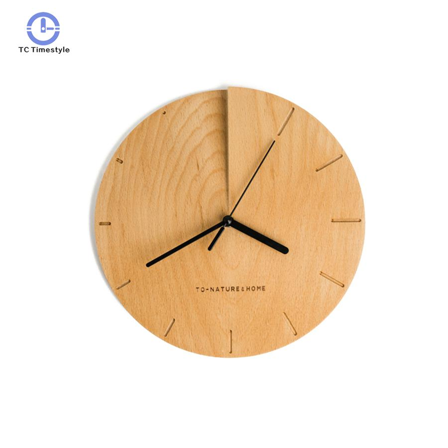 Wooden Wall Clock Art Creative Simple Watches Painting Living Room Decor Silent Wall Clocks Decorative New