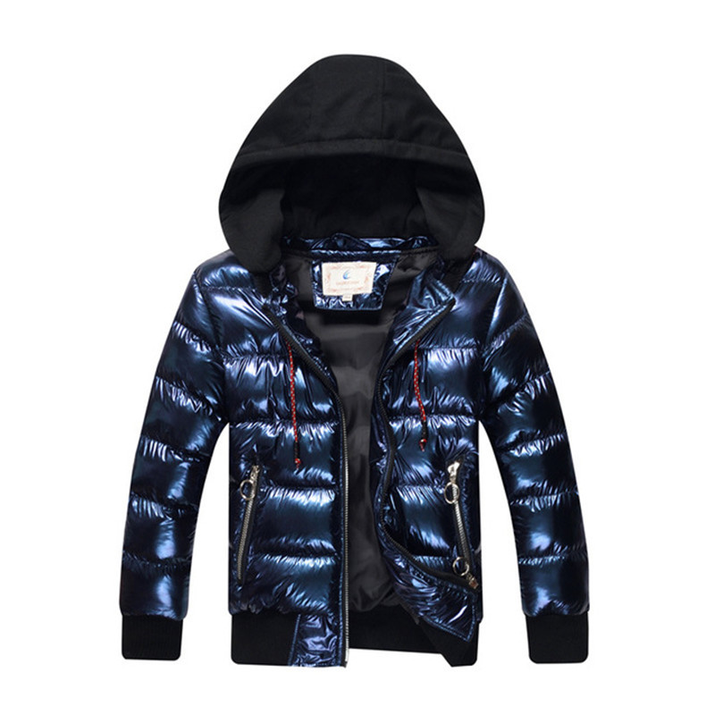 8-17 Years Boys Winter Coat Parka Cotton-wadded Jacket Boy Hooded Warm Jacket 2018 New Fashion Bronzing Thicken Warm Outerwear new men jackets winter cotton padded jacket men s casual zipper warm parka fashion stand collar thicken print outerwear coat