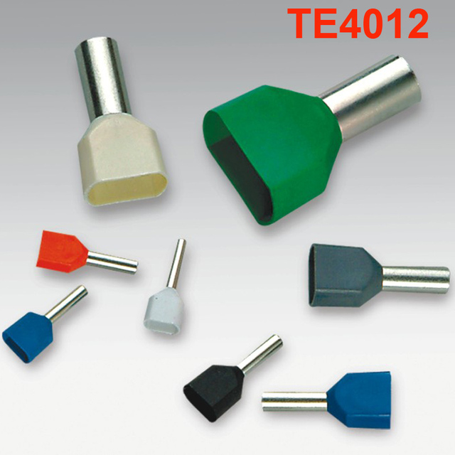 TE4012 500pcs Wire Ferrules End Sleeve Double Cord End Terminal ...