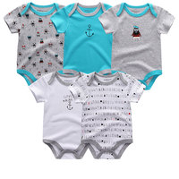 5PCS LOT Unisex Top Quality Baby Rompers Short Sleeve Cottom O Neck 0 12M Novel Newborn