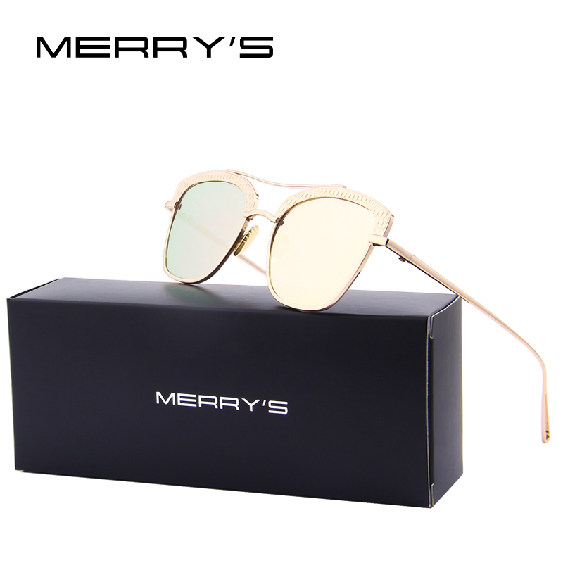 MERRY'S Metal Frame Women sunglasses Brand Designer Retro for Female Cat Eye Sun Glasses S'8081