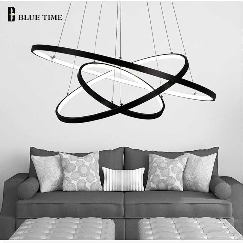 Black Frame Modern Circle Ring LED Simple Pendant Lights For Living Room Dining Room Lustre Pendant Lamp Hanging Ceiling Fixture noosion modern led ceiling lamp for bedroom room black and white color with crystal plafon techo iluminacion lustre de plafond