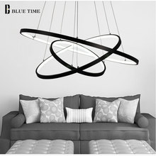 Black Frame Modern Circle Ring LED Simple Pendant Lights For Living Room Dining Room Lustre Pendant Lamp Hanging Ceiling Fixture