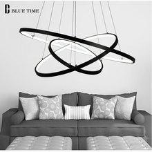 Черный Рамка современный круг кольцо светодиодный простой Подвесные светильники для Гостиная Обеденная блеск подвесной светильник подвесной потолочный светильник