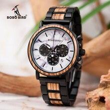 BOBO BIRD Marble Dial Wood Watch Men Chronograph Wooden Metal Quartz Wristwatch Relogio Masculino Gift for Father Husband J-P09