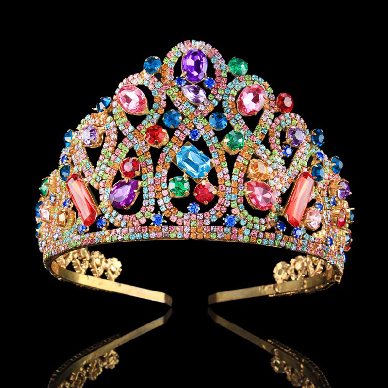 Baroque Vintage Colorful Crystal Prom Pageant Crowns For Women Wedding  Bridal Tiara For Bride Hair Accessories Crown Headbands 10780709515a