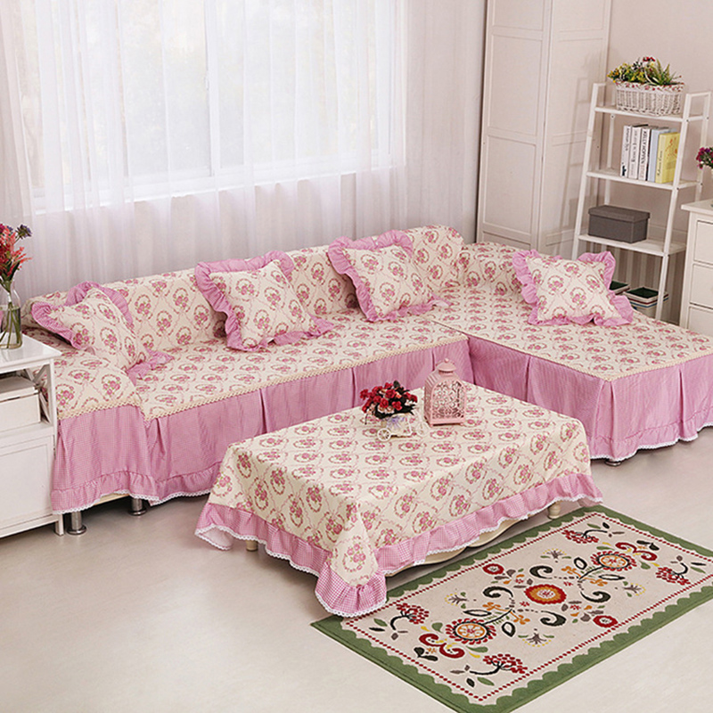 Korean Plaid Pink Blue Floral Green Sofa Cover Couch and Loveseat ...