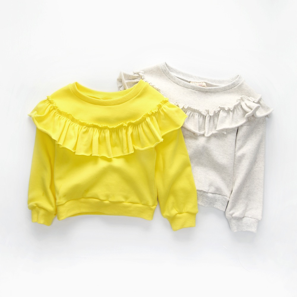 CAVIGOUR top quality cotton girls long sleeve t shirts autumn baby girl sweatshirts solid color ruffles design tops for girl stylish solid color batwing sleeve asymmetrical tops for women
