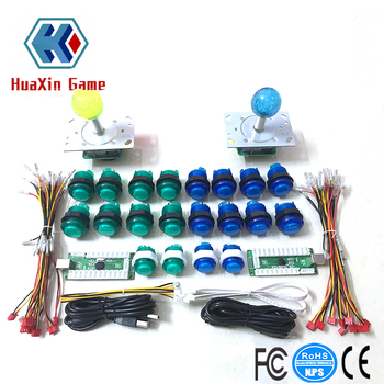 2 Player To PC Arcade Raspberry Pi Include 5V LED Illuminated Joystick + DIY LED Arcade Buttons +USB Encoder Kit Game Parts Set