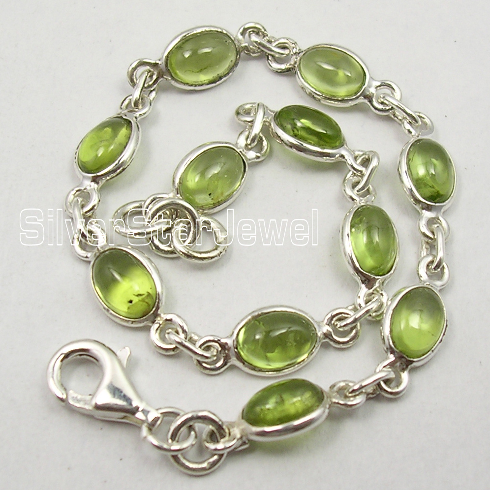 Silver Exclusive GREEN PERIDOT EXOTIC Bracelet 7 1 2 MADE IN INDIA