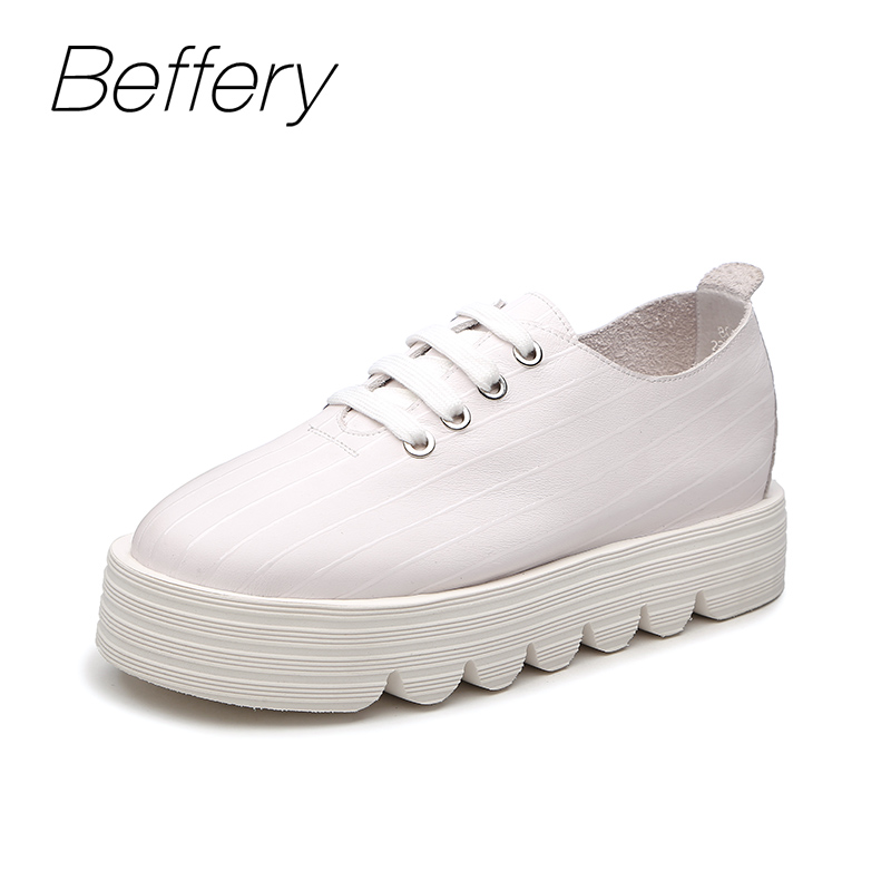 Beffery 2018 Spring New Genuine Leather Shoes Women Fashion Thick bottom Flat Platform Shoes For Women Lace-up Casual Shoes brand new spring shoes woman genuine leather fashion lace up women flat shoes casual platform shoes women