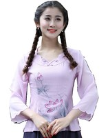 Shanghai Story tang suit women summer blouses women blouses china clothing Chinese Shirt womens tops Linen tops 2 Color