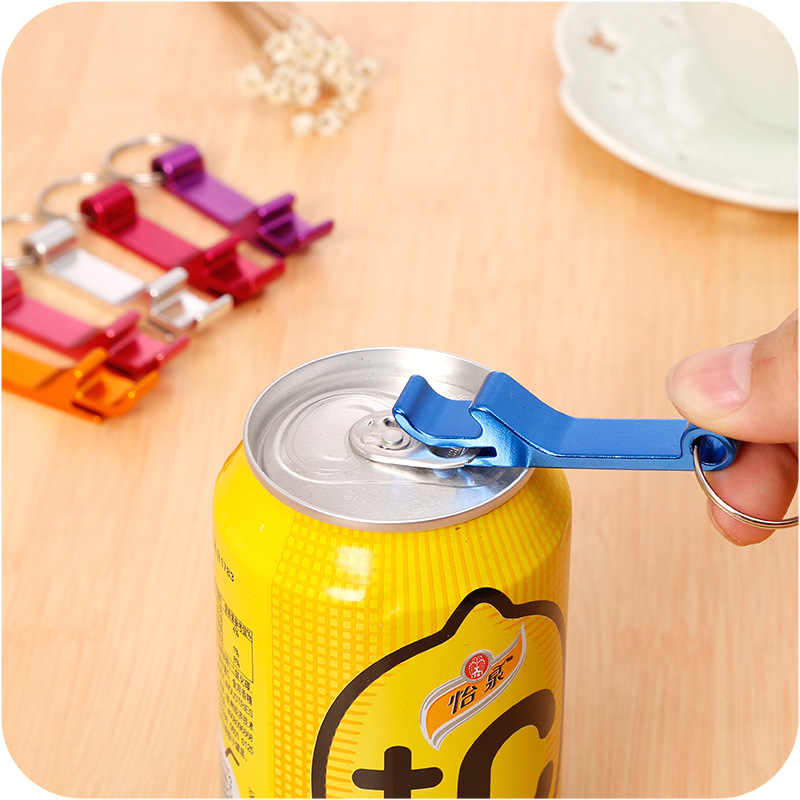 4 in1 Beer Bottle Opener Keychain Aluminum Can Opener Key Ring Car Key Ring Can Customized Logo KeyChain Gifts 8 Colors