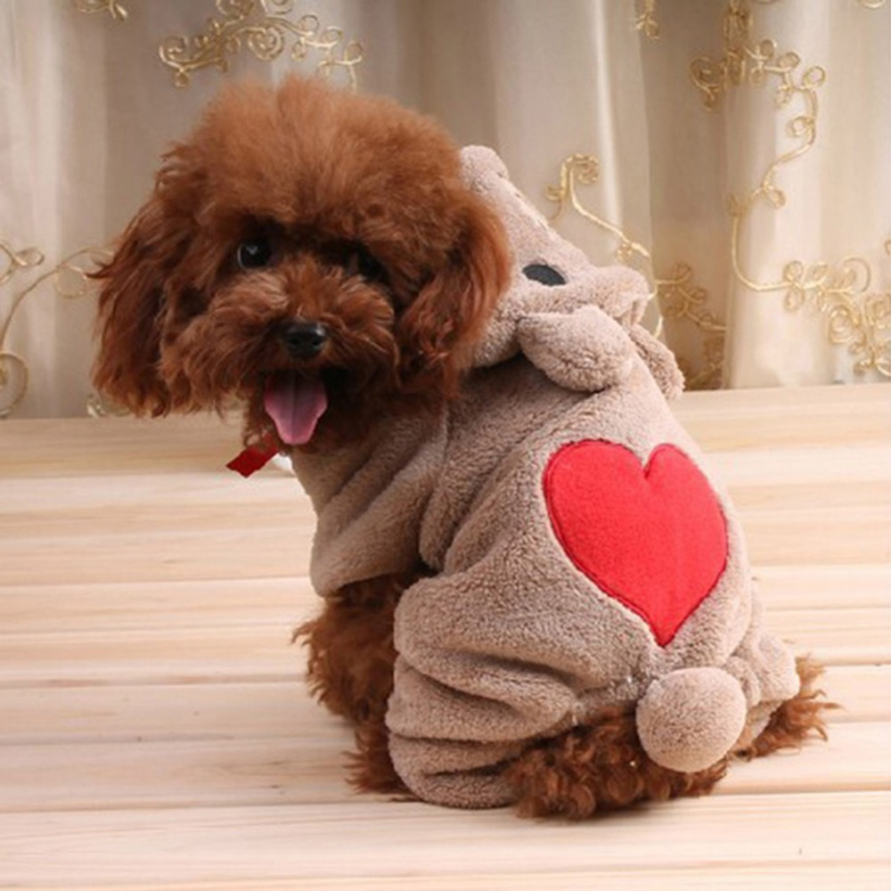 Лидер продаж Медведь Pattern Прекрасный Товары для собак Pet флисовая одежда теплый комбинезон Тедди Собака зимние пальто с капюшоном ...