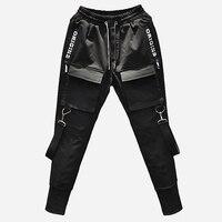 Streetwear Pencil Pants Men Jogger Elastic Waist Ribbon Hip Hop Haran Pants Multi Pocket Black Trousers Male DG55