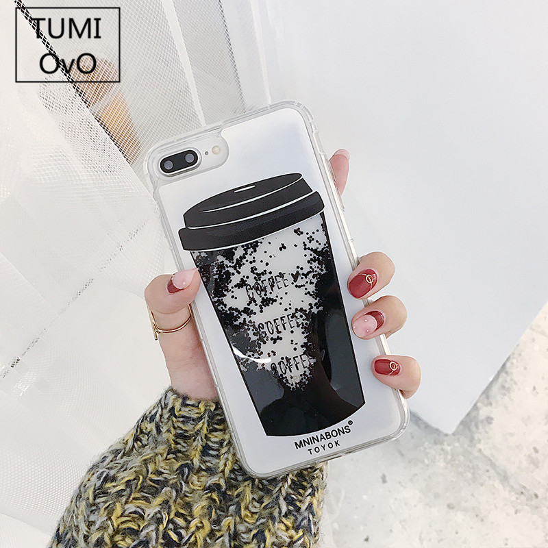 Galleria fotografica Simple Luxury Love Heart Hard PC Black Coffee Cup Cool Dynamic Liquid Quicksand Phone Case For iPhone 6 6S 7 8 Plus X 10 Cases
