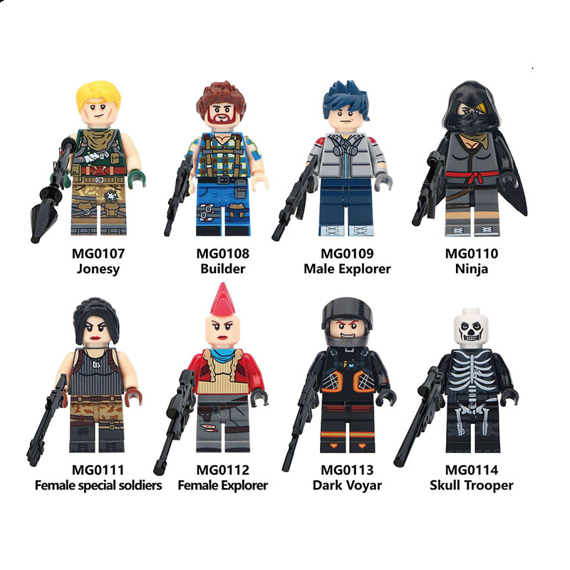 Single Sale LegoINGlys  Fortress Night Series  Jonesy Builder Male NinjaVoyar Trooper  Dark Building Blocks Toys Children Gifts