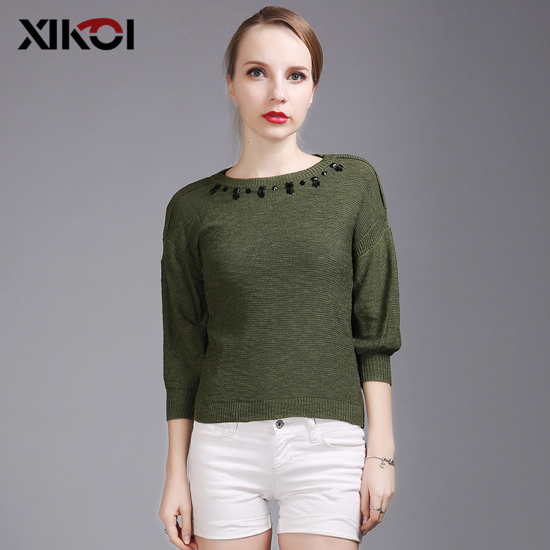 XIKOI 2018 Casual knitted Pullover Wome O-neck Beading Sweater Shirt Female All-match Basic Half Sleeve Tops Clothing sueter